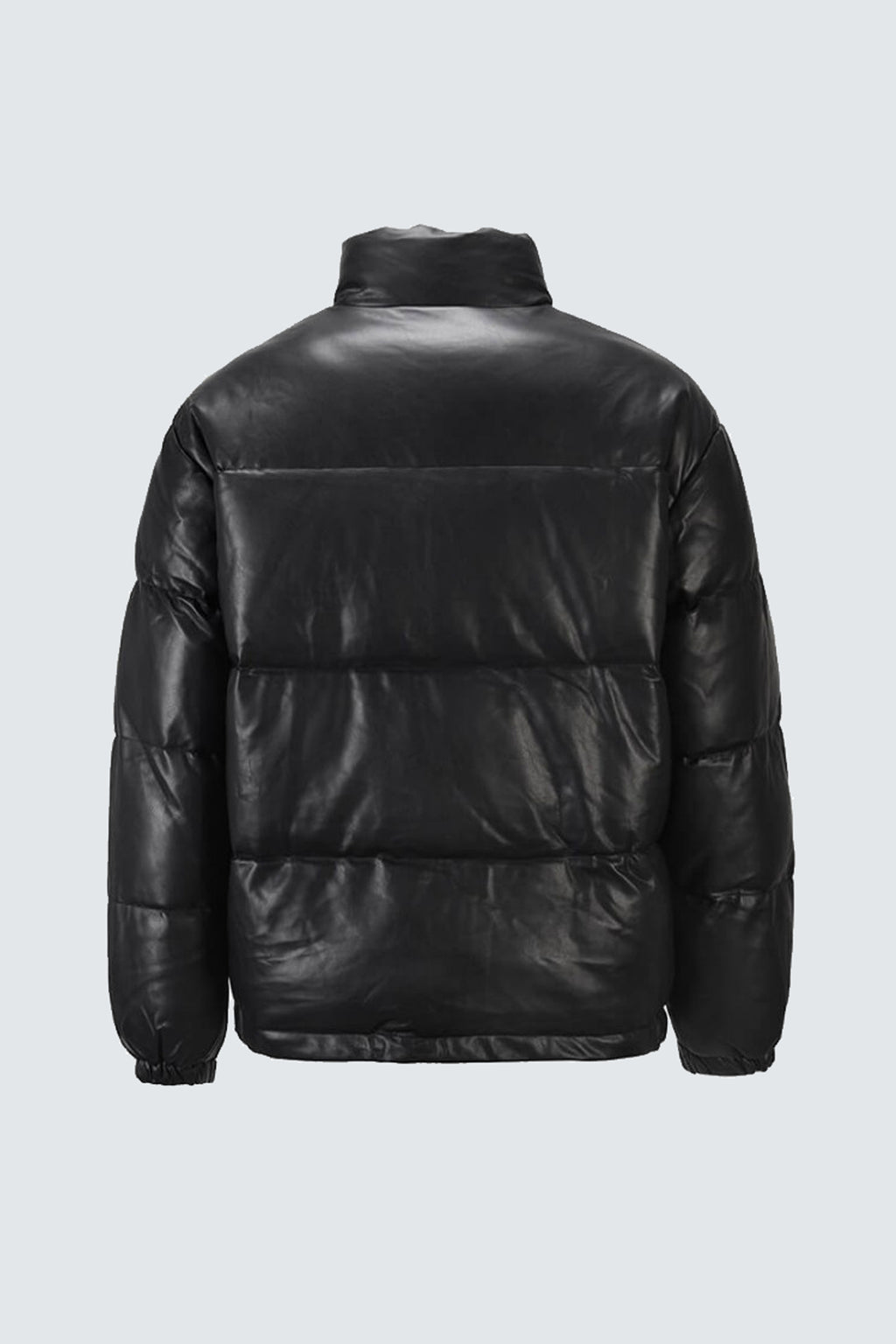 Padded Faux Leather Puffer Jacket - Black - SVPPLY. STUDIOS