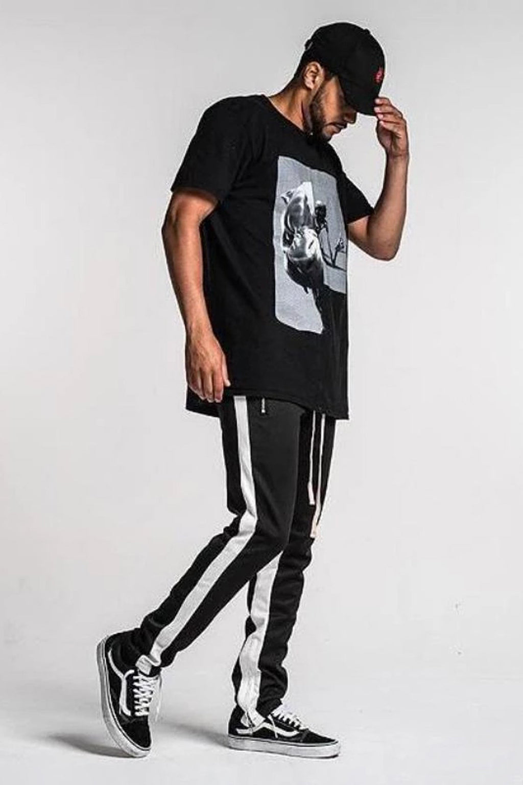 Side Stripe Track Pants - Black / White Stripe - SVPPLY. STUDIOS