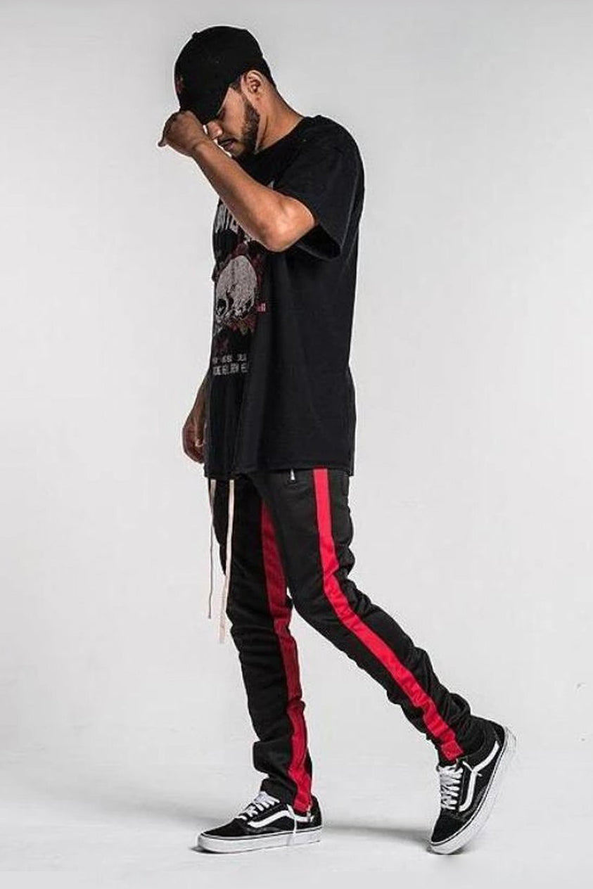 Retro Side Stripe Track Pants - Black / Red Stripe - SVPPLY. STUDIOS