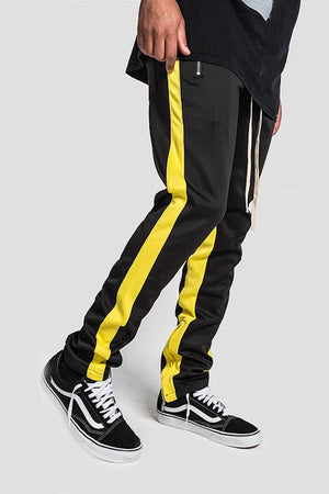 Side Stripe Track Pants - Black / Yellow Stripe - SVPPLY. STUDIOS
