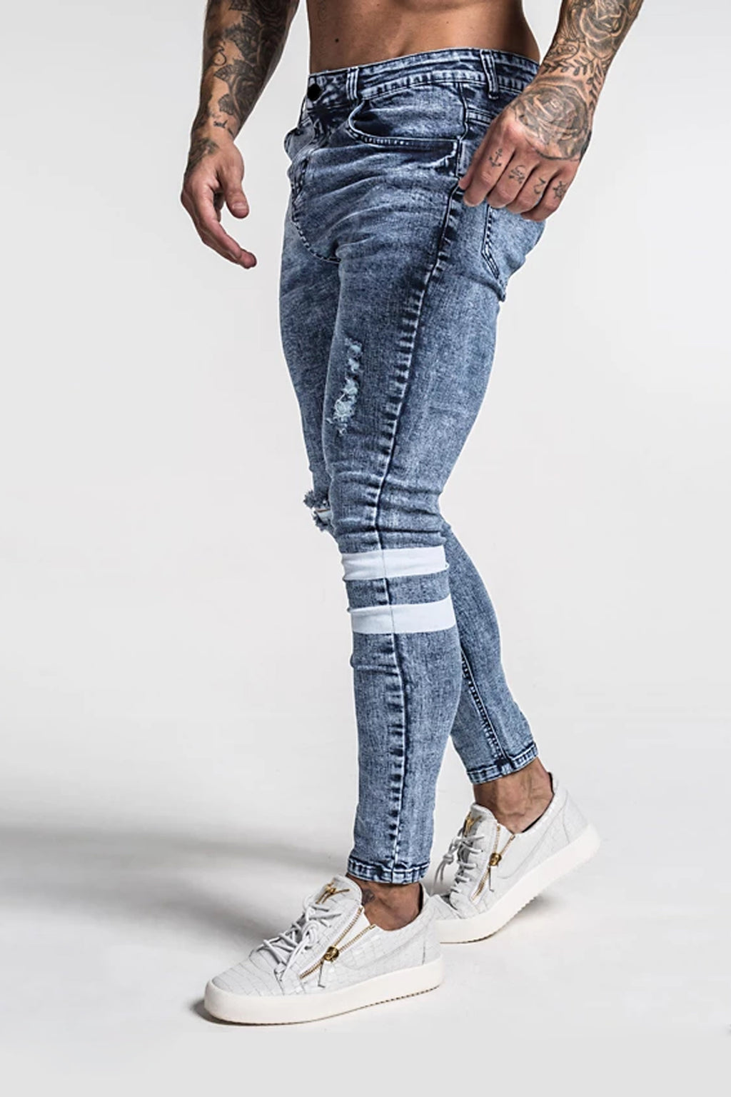 Repaired Spray on Jeans - Blue / White Stripes - SVPPLY. STUDIOS