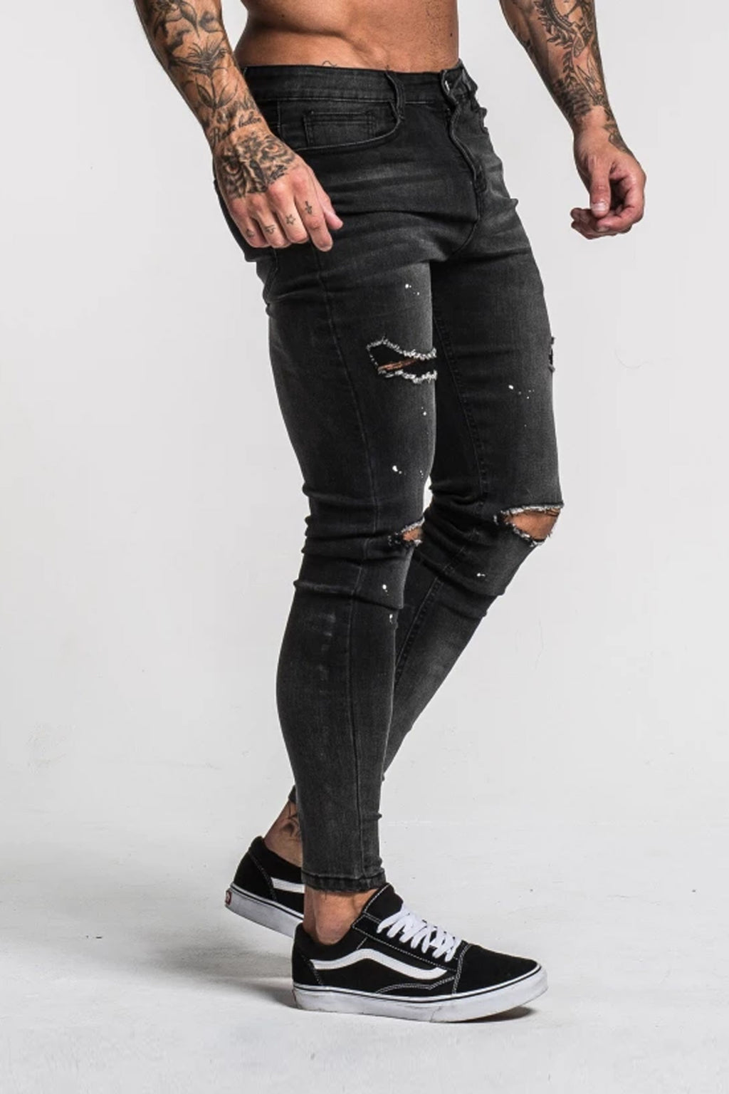 Ripped & Repaired Super Skinny Jeans - Black / Paint Splatter - SVPPLY. STUDIOS