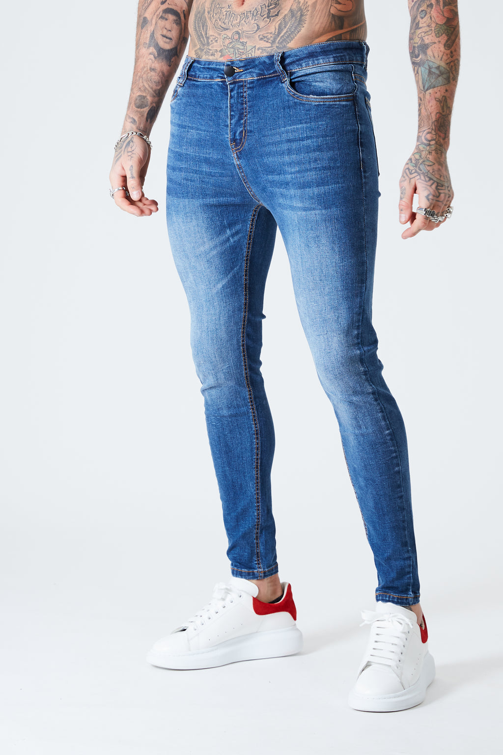 Super Skinny Spray On Jeans - Mid Blue - SVPPLY. STUDIOS