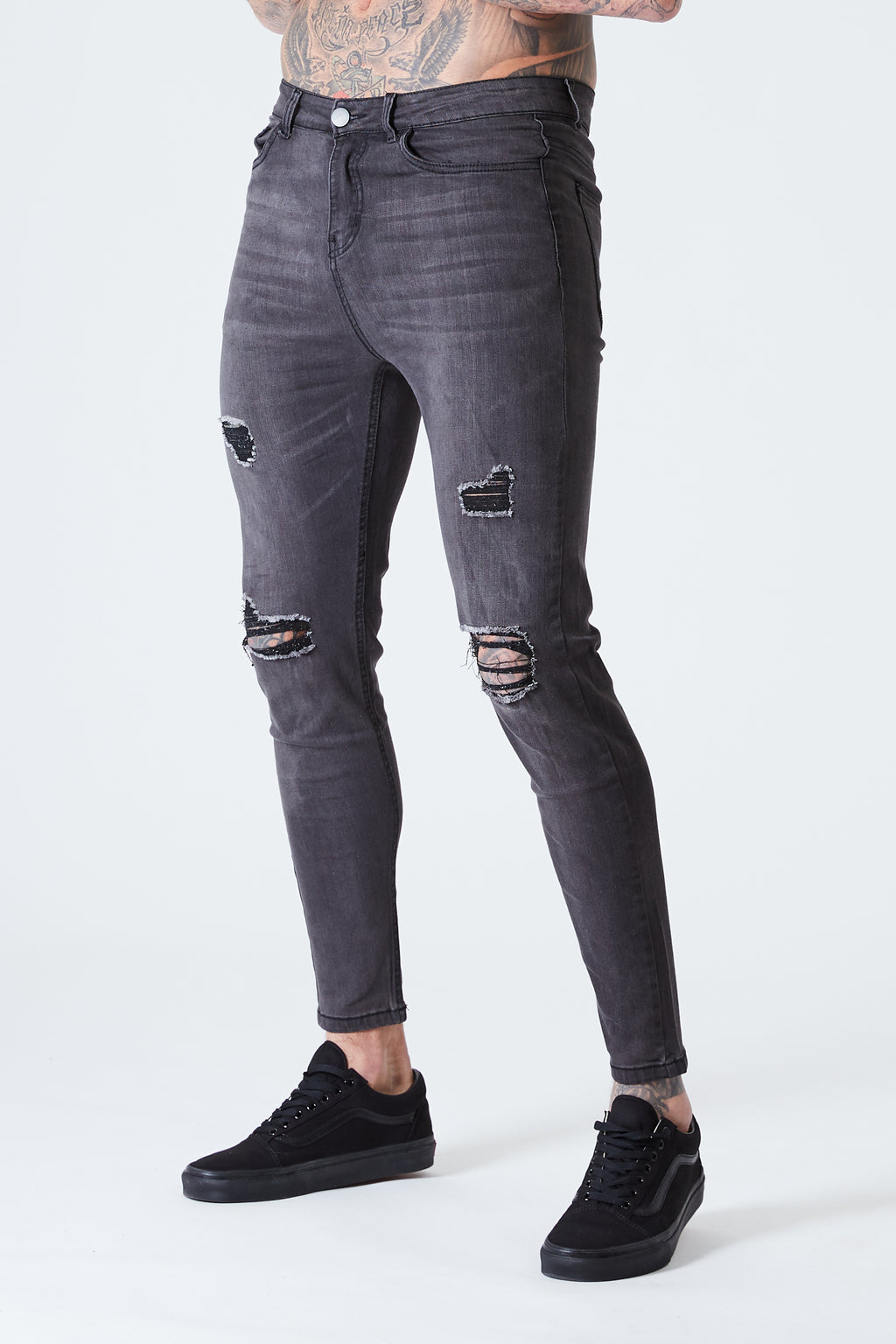 Ripped & Repaired Spray on Jeans - Grey