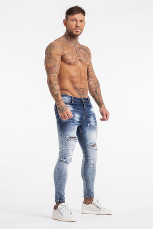 Skinny Ripped Paint Splash Jeans - Blue - SVPPLY. STUDIOS