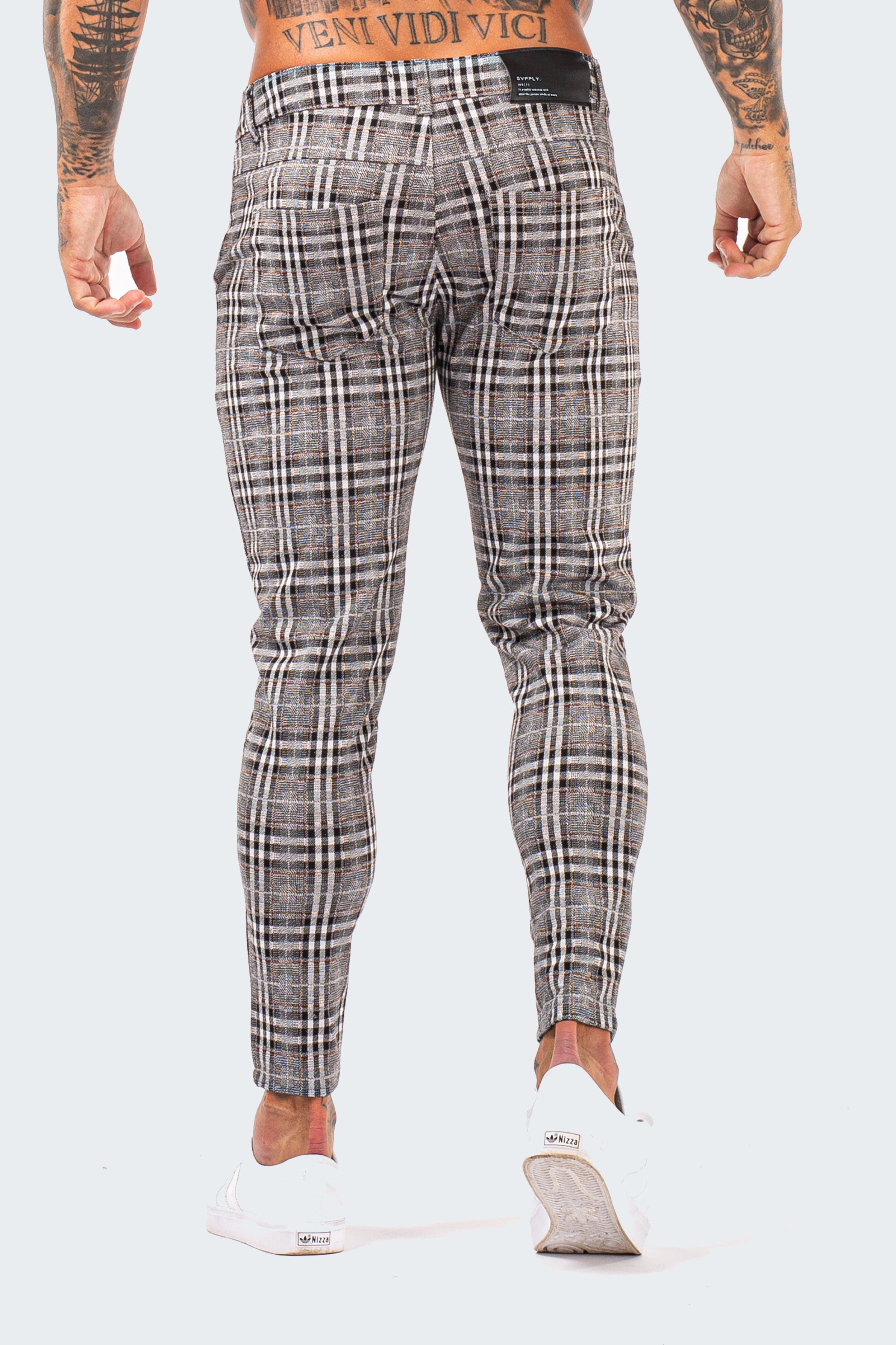 Skinny Check Trousers - Ash Grey - SVPPLY. STUDIOS