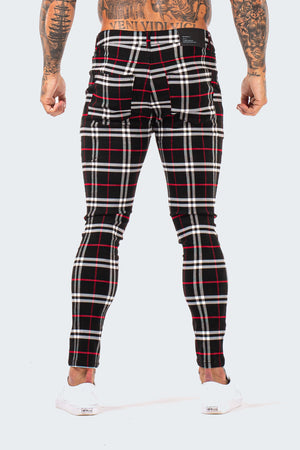 Skinny Check Trousers - Black/White/Red - SVPPLY. STUDIOS