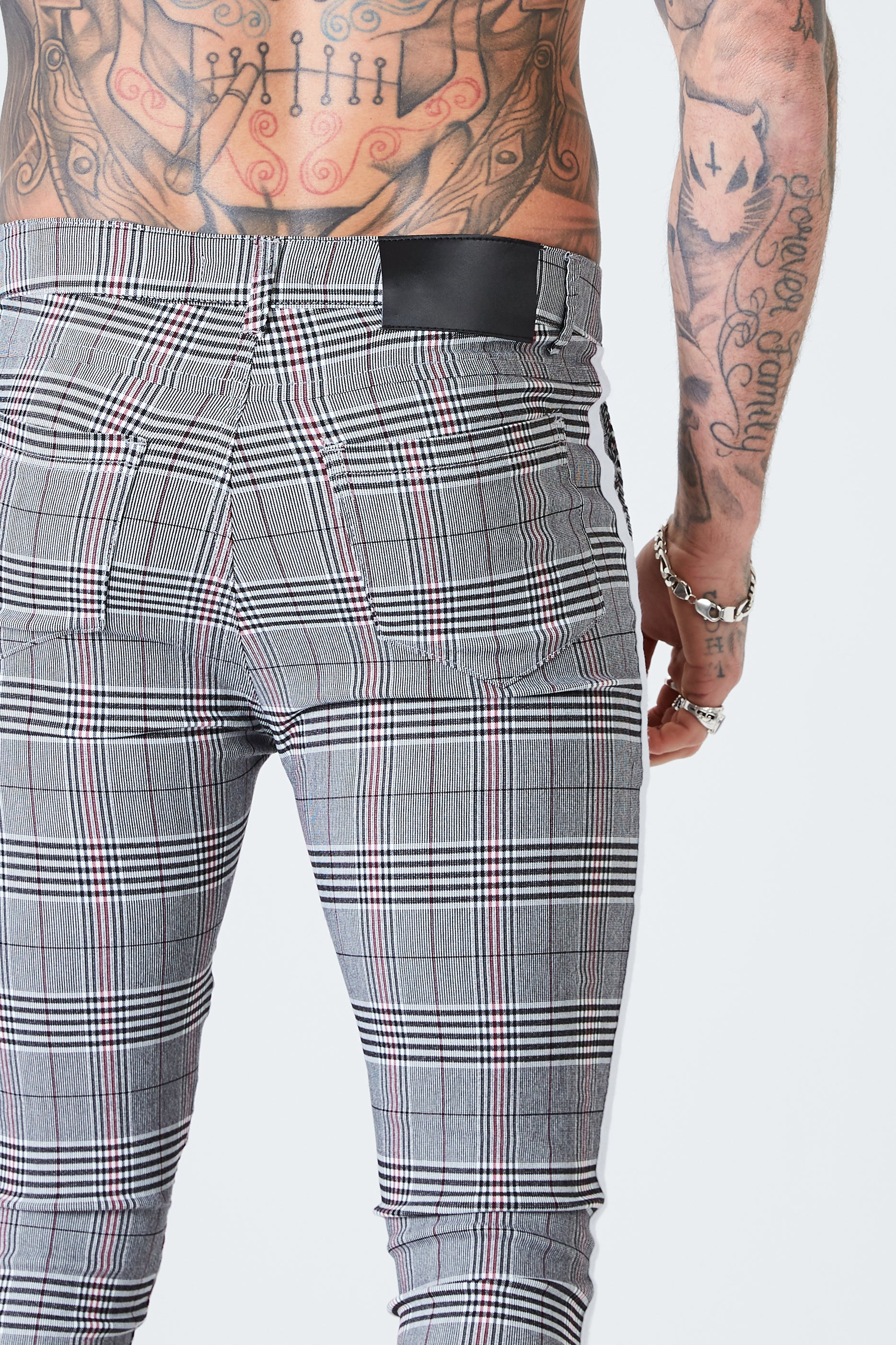 Skinny Check Trousers with White Stripe - Grey - SVPPLY. STUDIOS