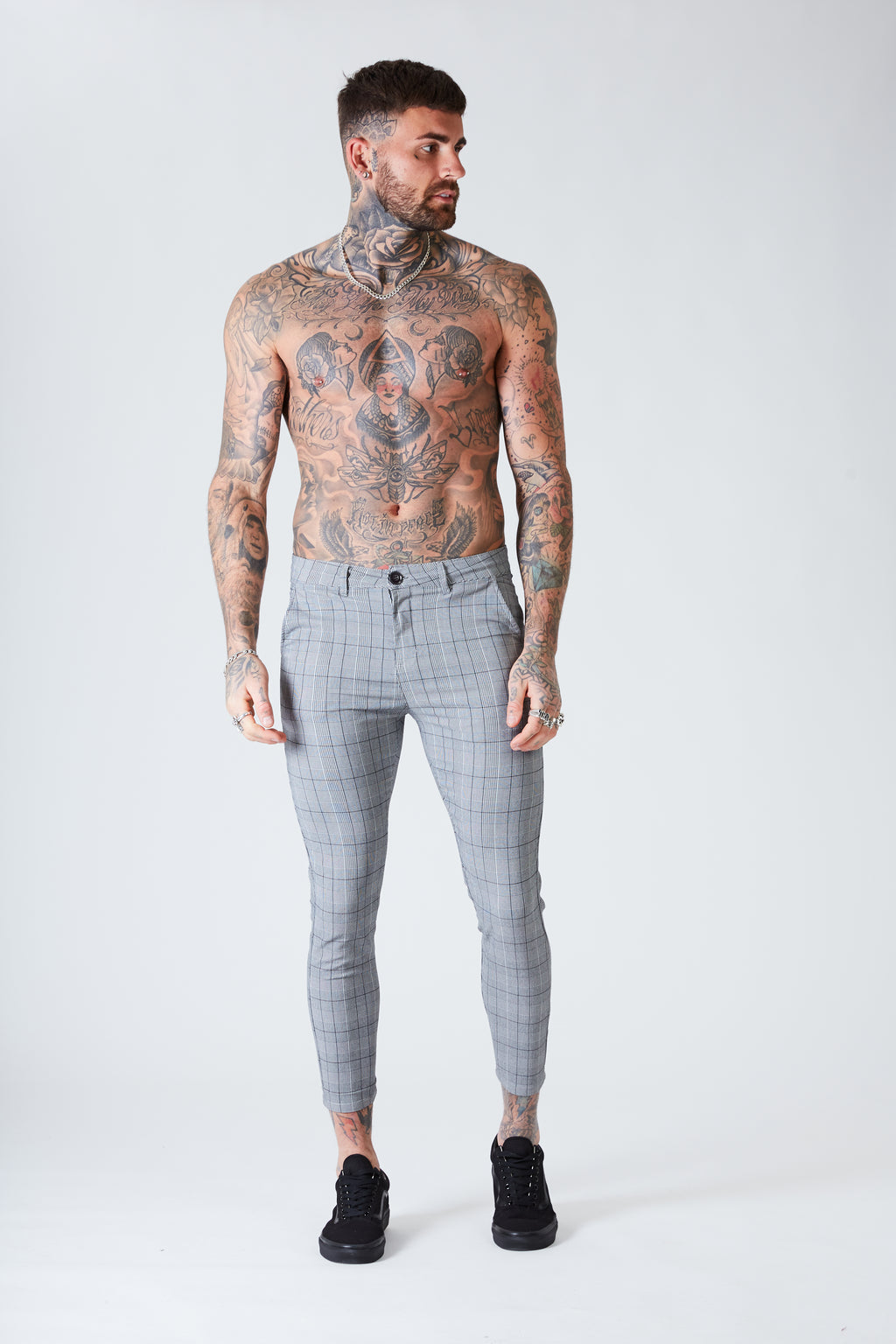 Skinny Cropped Check Trousers - Grey - SVPPLY. STUDIOS