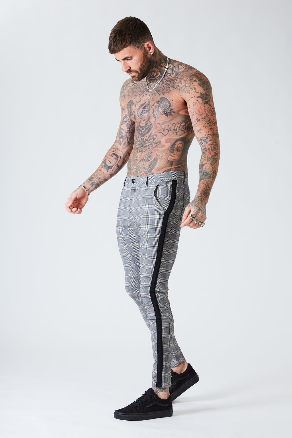 Check Trousers with Black Stripe - Stone Grey