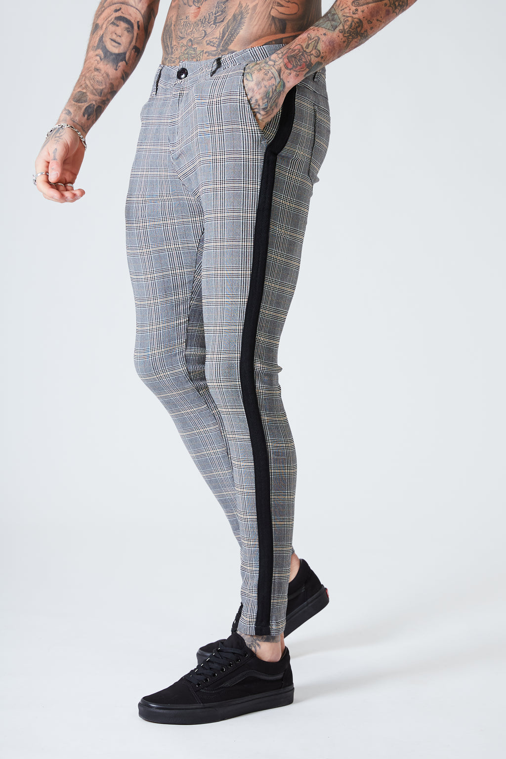 Check Trousers with Black Stripe - Stone Grey - SVPPLY. STUDIOS