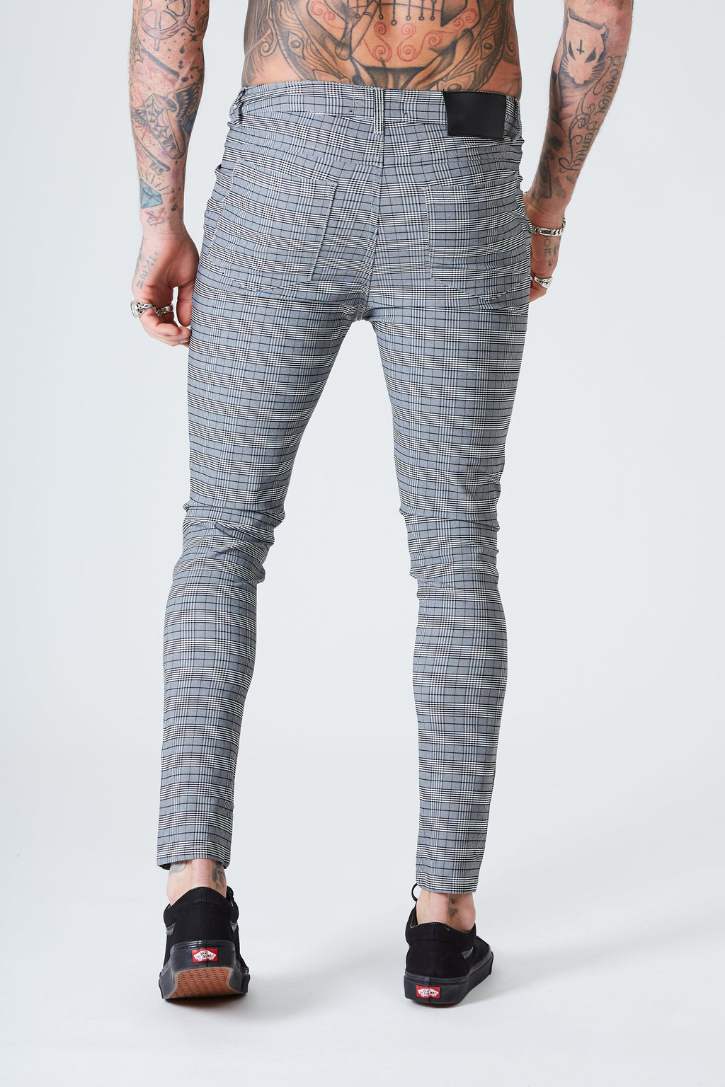 Skinny Check Trousers - Grey