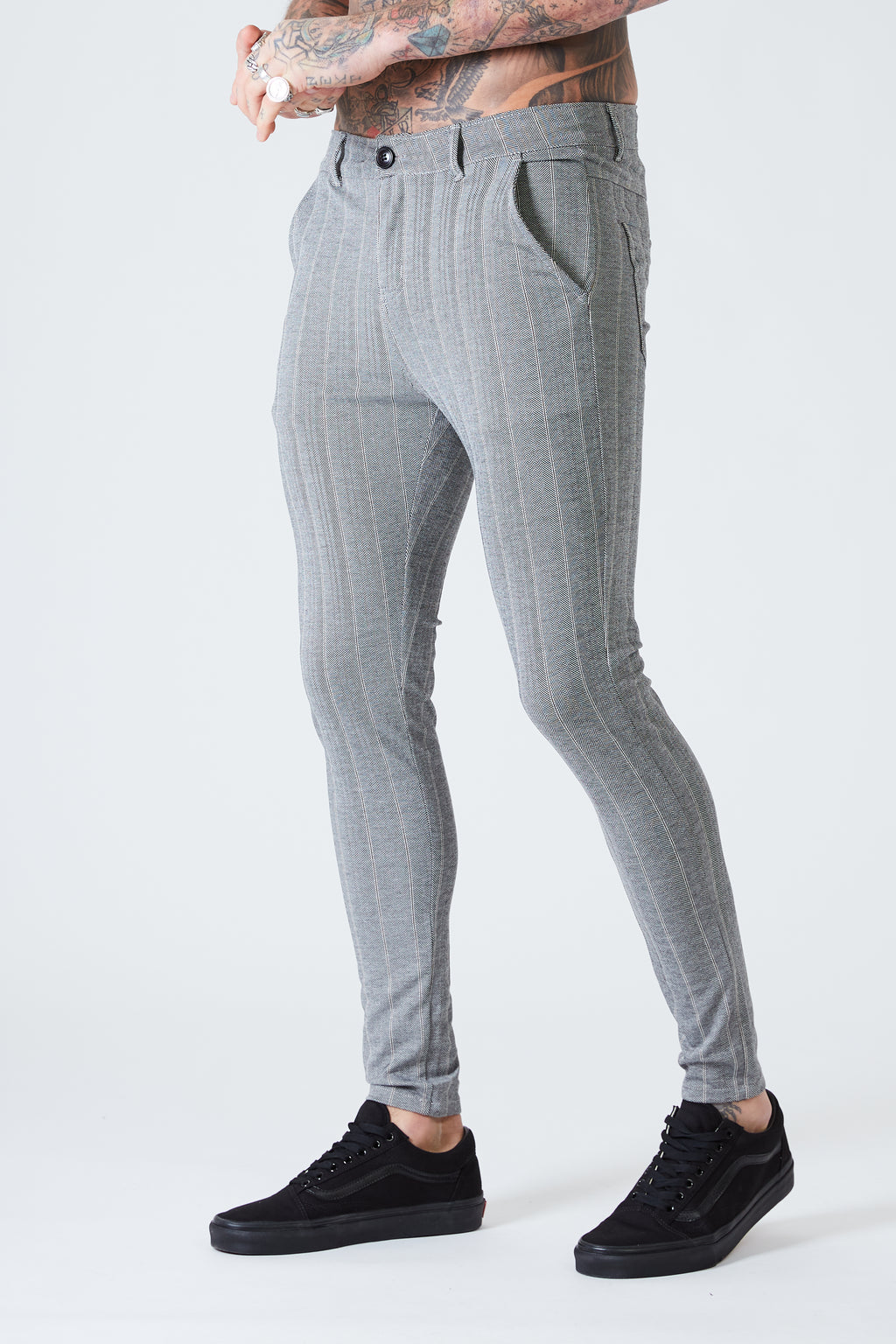 Luxe Skinny Pin Stripe Trousers - Grey - SVPPLY. STUDIOS