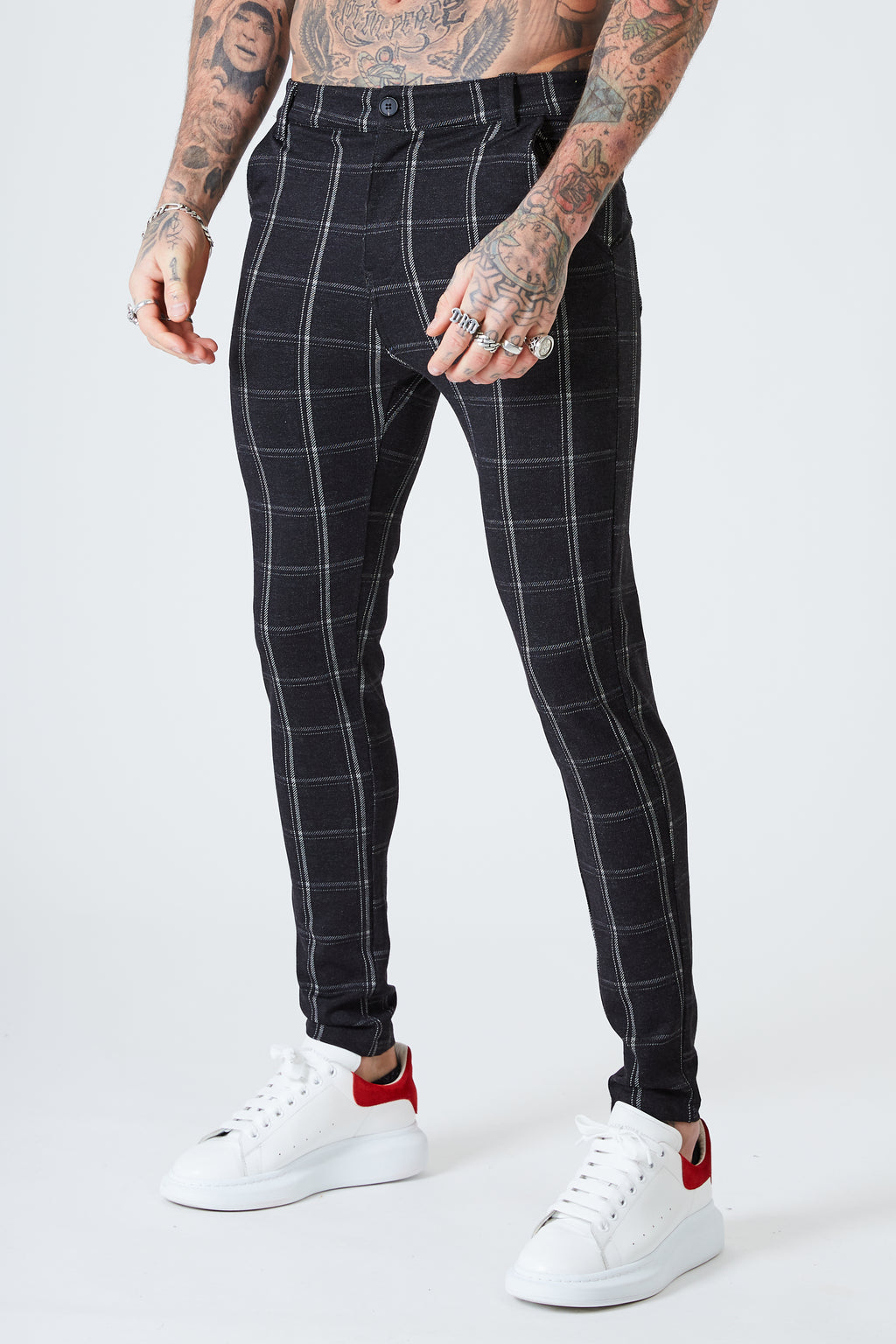 Luxe Skinny Check Trousers - Black - SVPPLY. STUDIOS