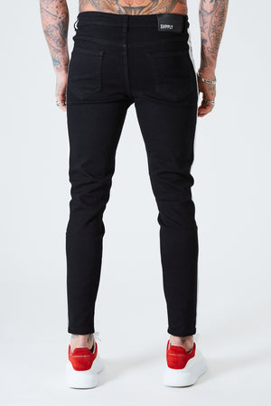 Spray on Jeans with White Stripe - Black - SVPPLY. STUDIOS