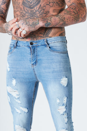 Ripped & Repaired Spray on Jeans - Blue Fade - SVPPLY. STUDIOS
