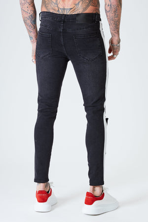 Ripped Skinny Jeans with White Stripe - Faded Black - SVPPLY. STUDIOS