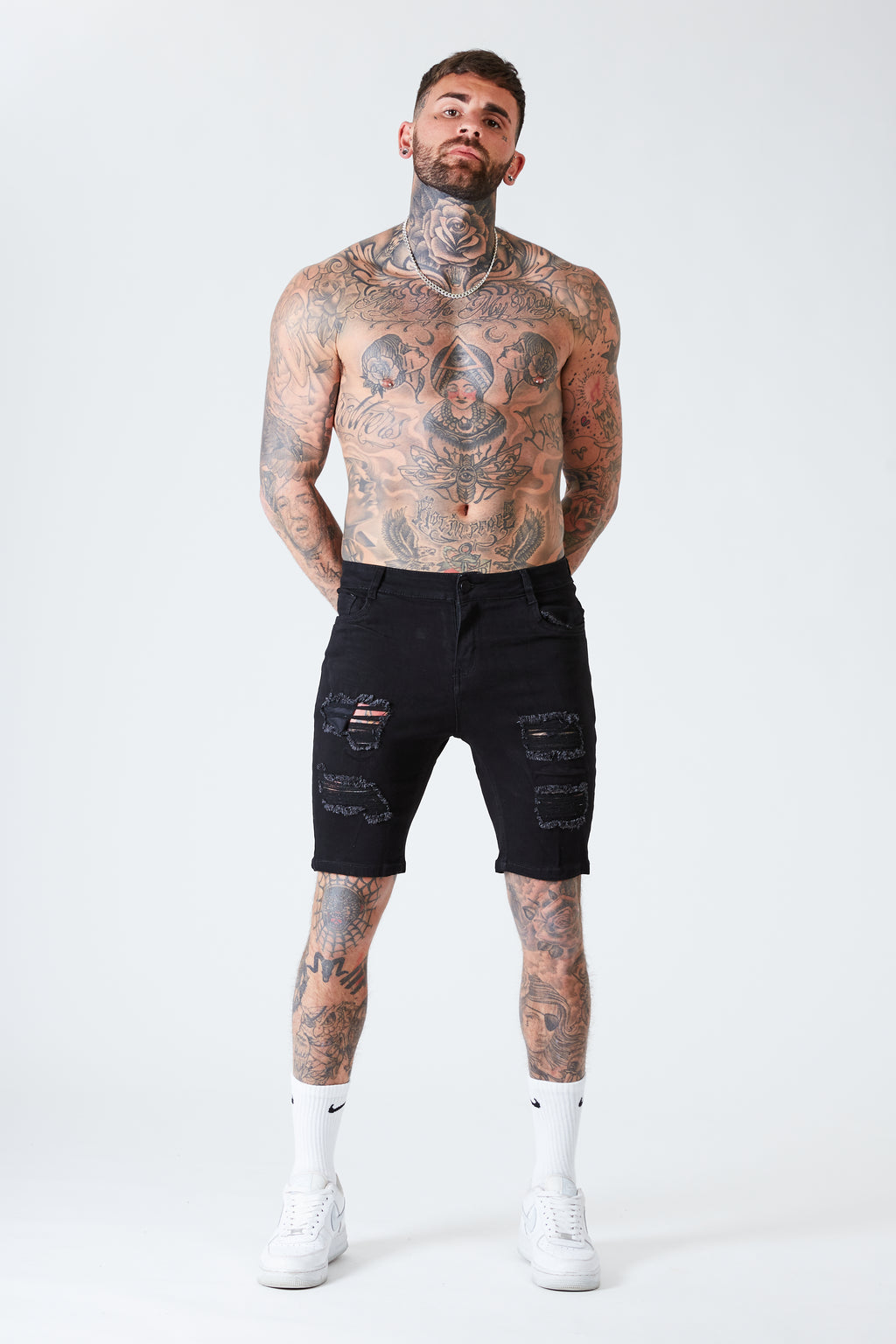 Ripped Skinny Denim Shorts - Black - SVPPLY. STUDIOS