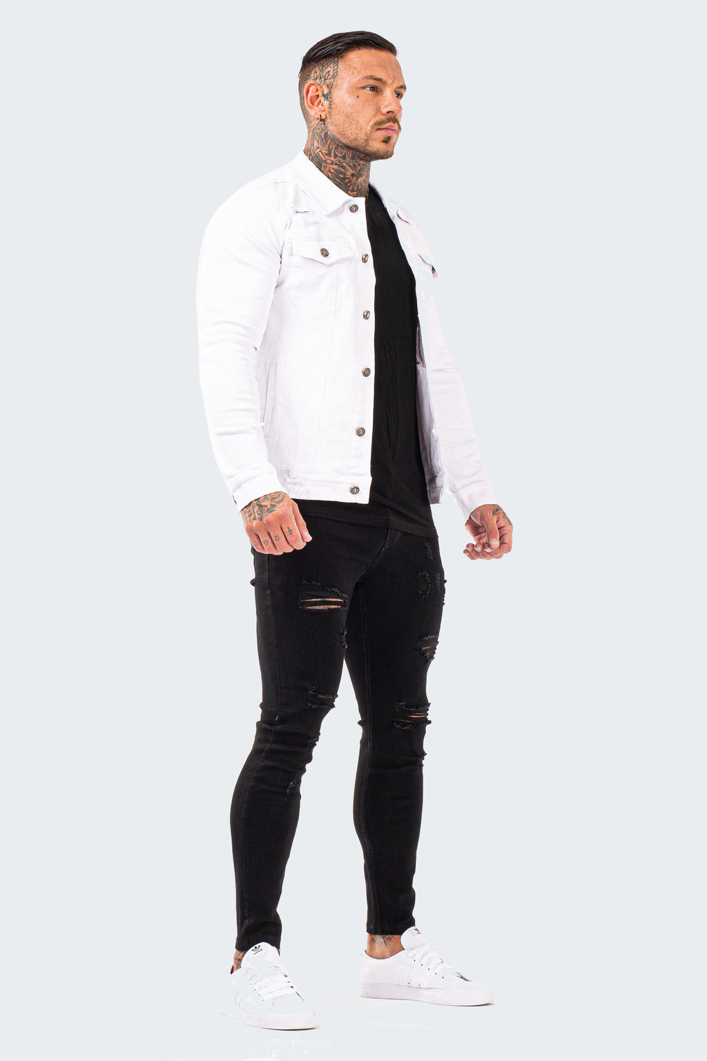 Distressed Denim Jacket - White - SVPPLY. STUDIOS