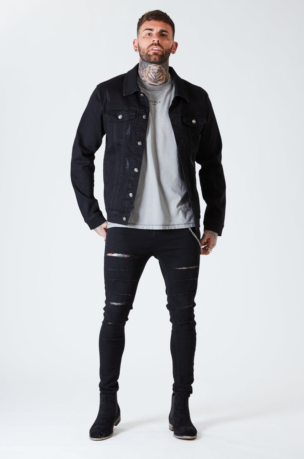 Distressed Denim Jacket - Black - SVPPLY. STUDIOS