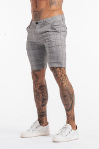 Skinny Check Shorts - Grey - SVPPLY. STUDIOS