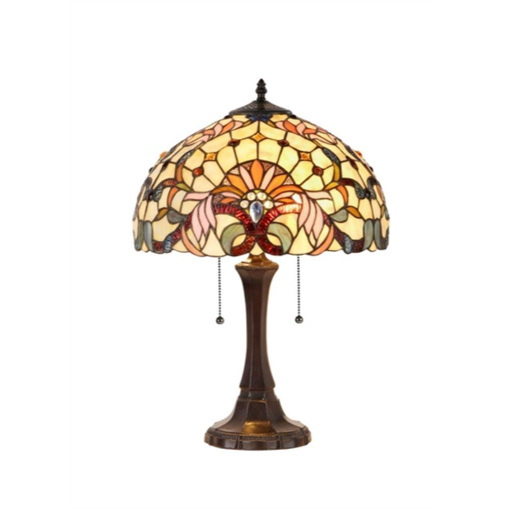 "CHLOE Lighting CLAIRE Tiffany-style 2 Light Victorian Table Lamp 16"" Shade"