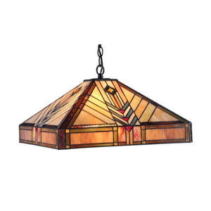 "CHLOE Lighting EDWARD Tiffany-style 2 Light Mission Ceiling Pendant Fixture 18"" Shade"