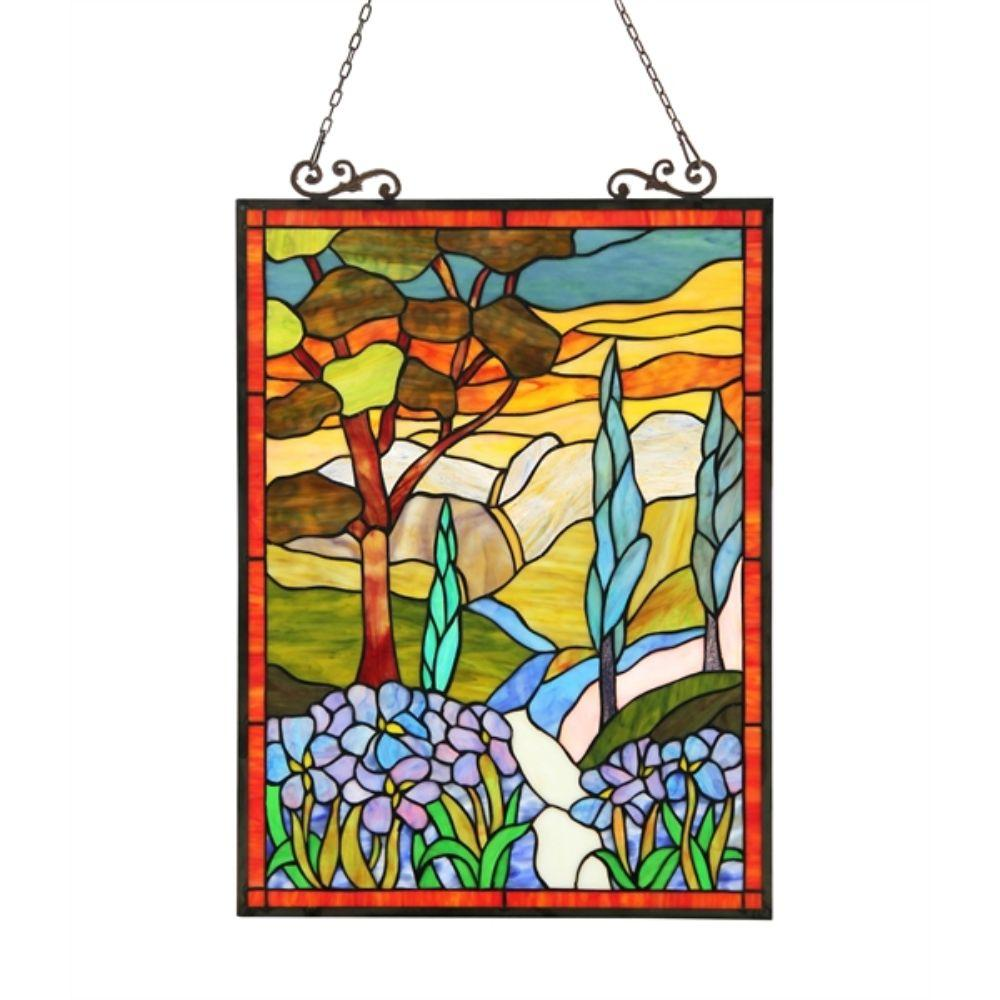 CHLOE Lighting ALMOS Tiffany-glass Floral Window Panel 18X24