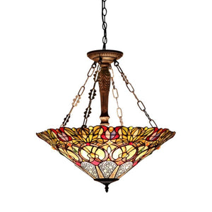 "CHLOE Lighting CASSANDRA Tiffany-style 3 Light Victorian Inverted Ceiling Pendant Fixture 22"" Shade"