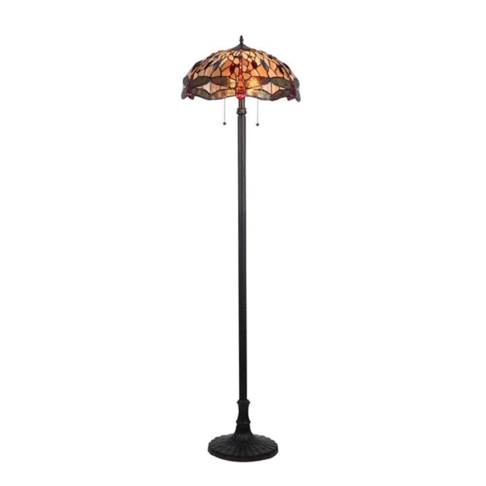"CHLOE Lighting EMPRESS Tiffany-style 2 Light Dragonfly Floor Lamp 18"" Shade"