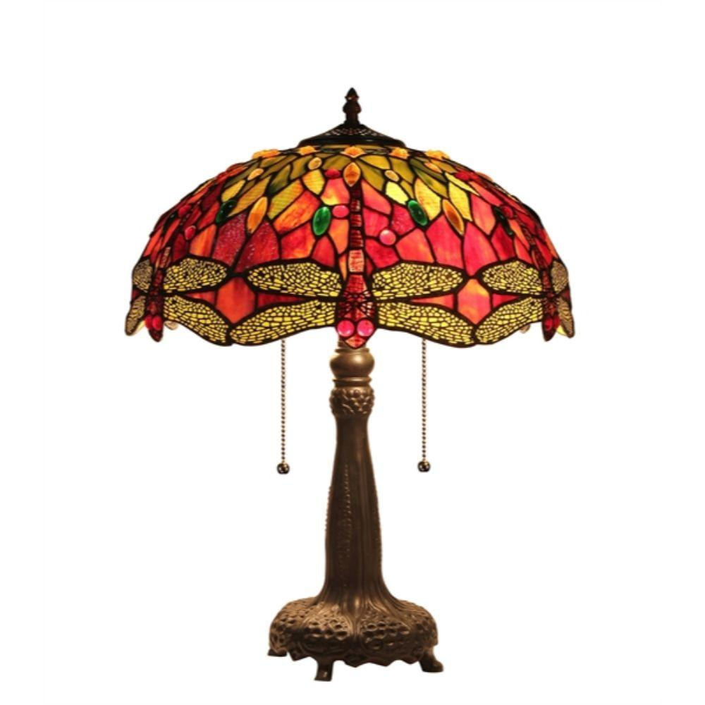 "CHLOE Lighting EMPRESS Tiffany-style 2 Light Dragonfly Table Lamp 16"" Shade"