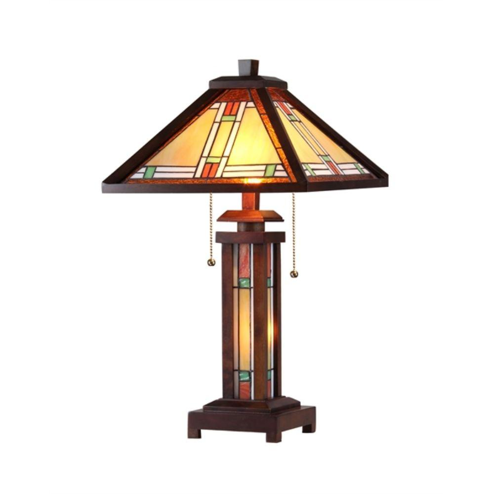 "CHLOE Lighting AARON Tiffany-style 3 Light Mission Double Lit Wooden Table Lamp 15"" Shade"