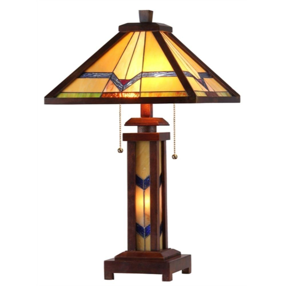 "CHLOE Lighting ALEXANDER Tiffany-style 3 Light Mission Double Lit Wooden Table Lamp 15"" Shade"