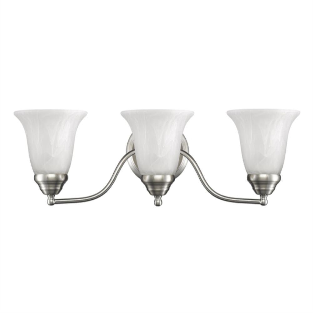 "CHLOE Lighting DELLA Transitional 3 Light Brushed Nickel Bath Vanity Wall Fixture White Alabaster Glass 21.5"" Wide"