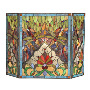 "CHLOE Lighting ANISOPTERA PURITY Tiffany-glass 3pcs Folding Dragonfly Fireplace Screen 44"" Wide"