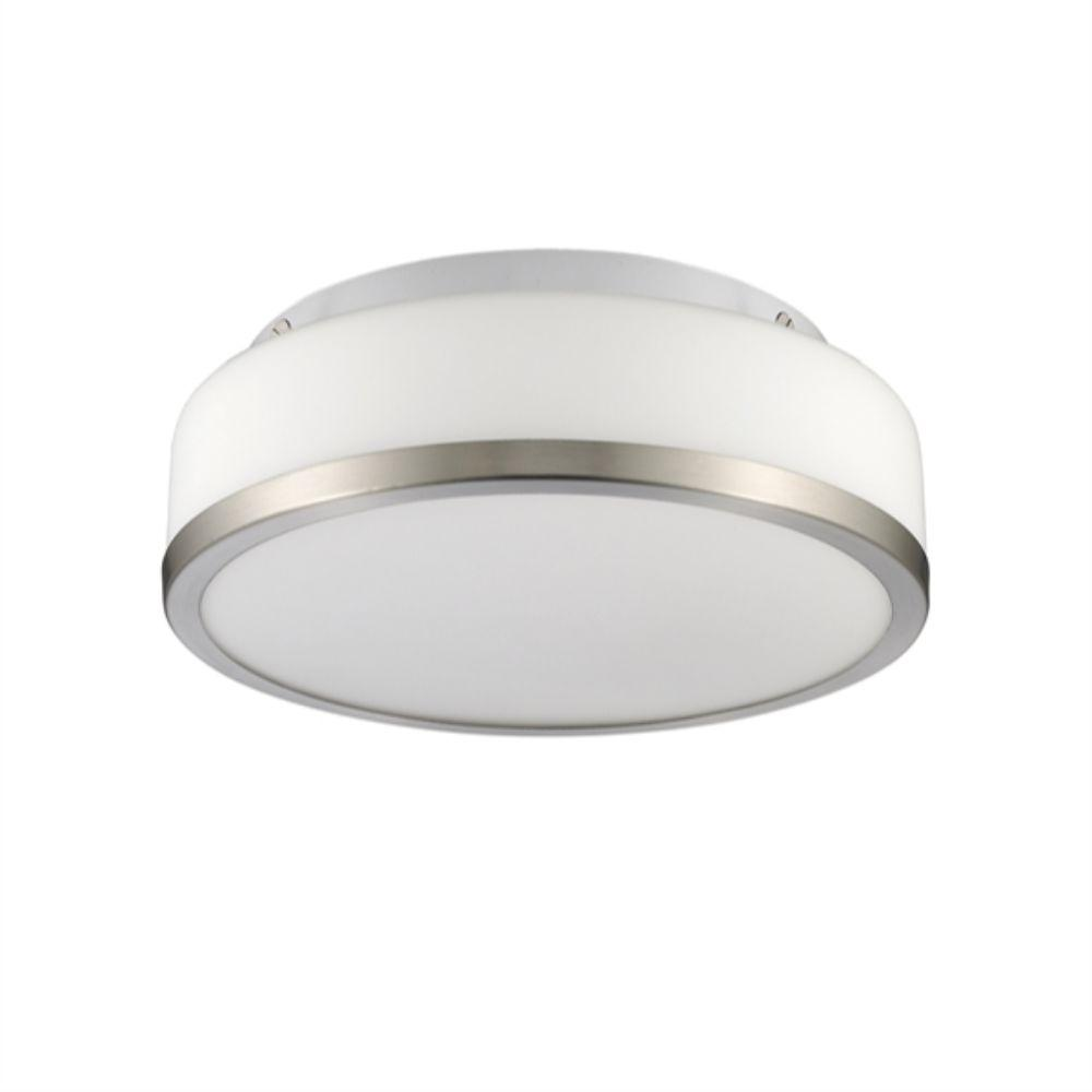 "CHLOE Lighting BALWIN Transitional 1 Light Bushed Nickel Flushmount Ceiling Fixture 10"" Wide"