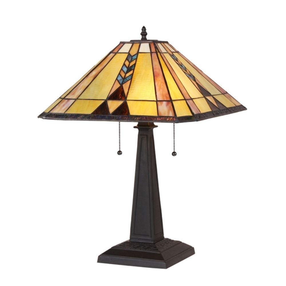 "CHLOE Lighting KENT Tiffany-style 2 Light Mission Table Lamp 16"" Shade"