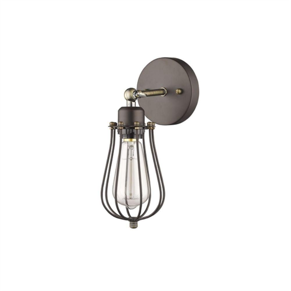 CHLOE Lighting CHARLES Industrial-style 1 Light Rubbed Bronze Wall Sconce Wide