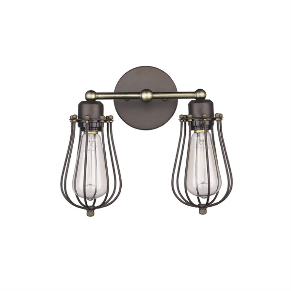 "CHLOE Lighting CHARLES Industrial-style 2 Light Rubbed Bronze Wall Sconce 12"" Wide"