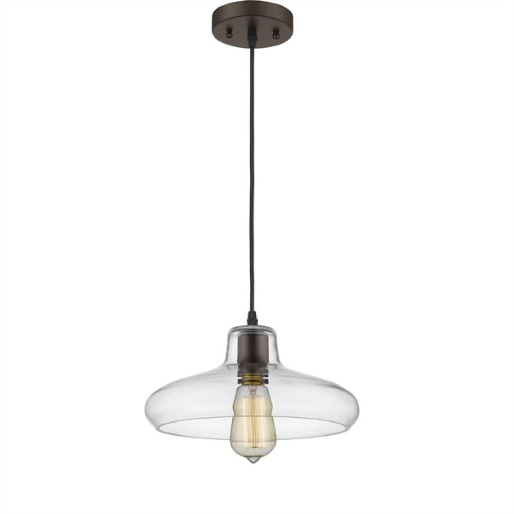 "CHLOE Lighting DICKENS Industrial-style 1 Light Rubbed Bronze Ceiling Mini Pendant 11"" Shade"