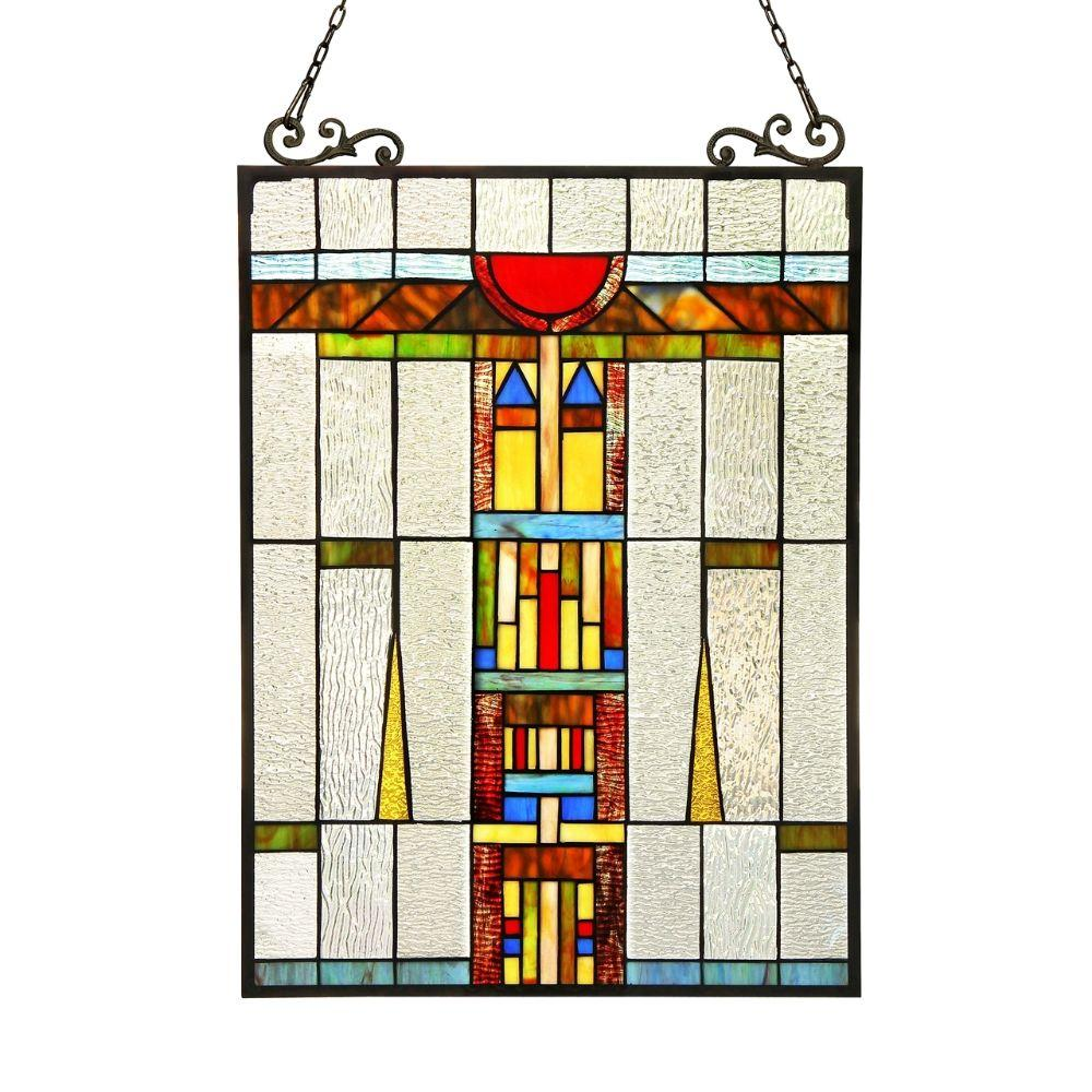 CHLOE Lighting DOESBURG Tiffany-glass Window Panel 17.5x25