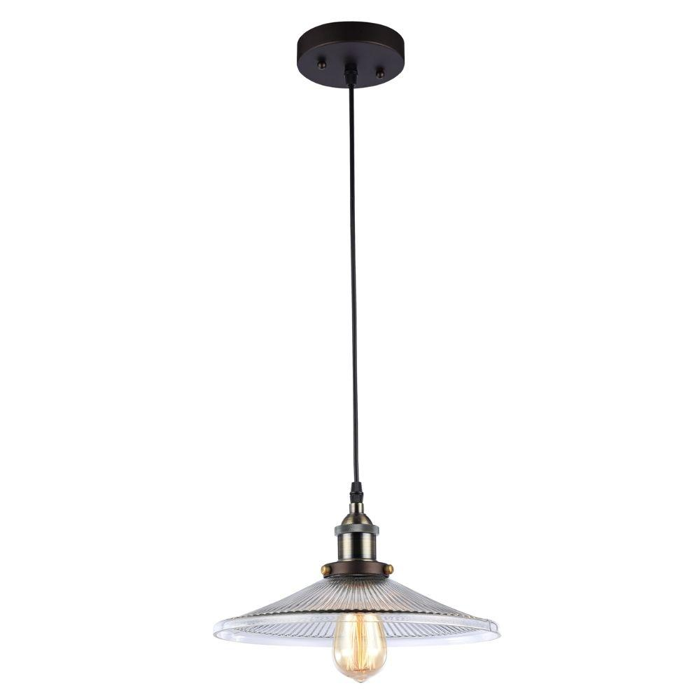 "CHLOE Lighting BUTLER Industrial-style 1 Light Rubbed Bronze Ceiling Mini Pendant 12"" Wide"