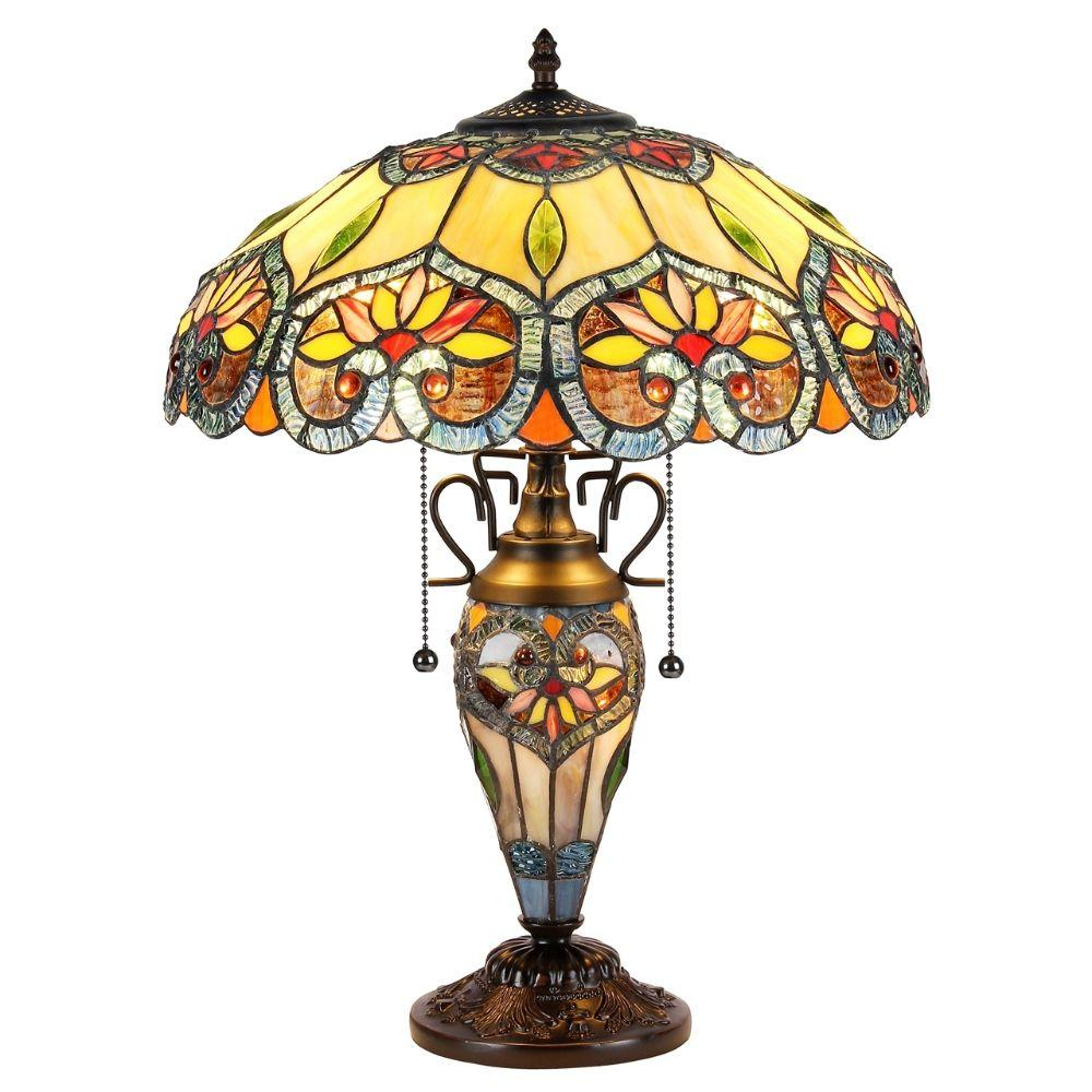 "CHLOE Lighting CRYSTORAMA Tiffany-style 3 Light Floral Double Lit Table Lamp 16"" Shade"