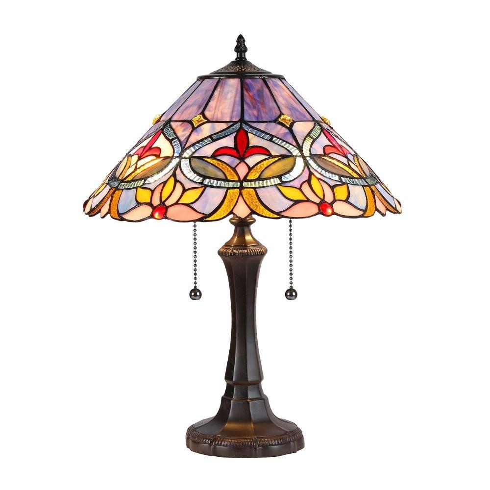 "CHLOE Lighting CURIE Tiffany-style 2 Light Floral Table Lamp 16"" Shade"