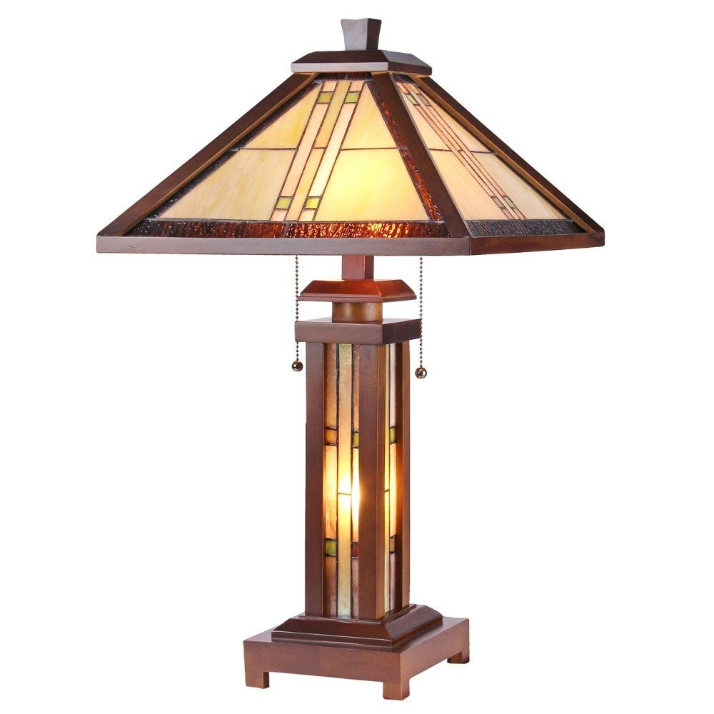"CHLOE Lighting EARLE Tiffany-style Mission 3 Light Double Lit Wooden Table Lamp 15"" Shade"