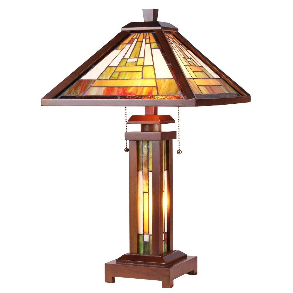 "CHLOE Lighting GAWAIN Tiffany-style Mission 3 Light Double Lit Wooden Table Lamp 15"" Shade"