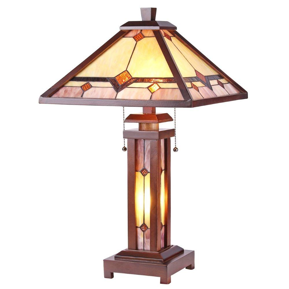 "CHLOE Lighting KAY Tiffany-style Mission 3 Light Double Lit Wooden Table Lamp 15"" Shade"