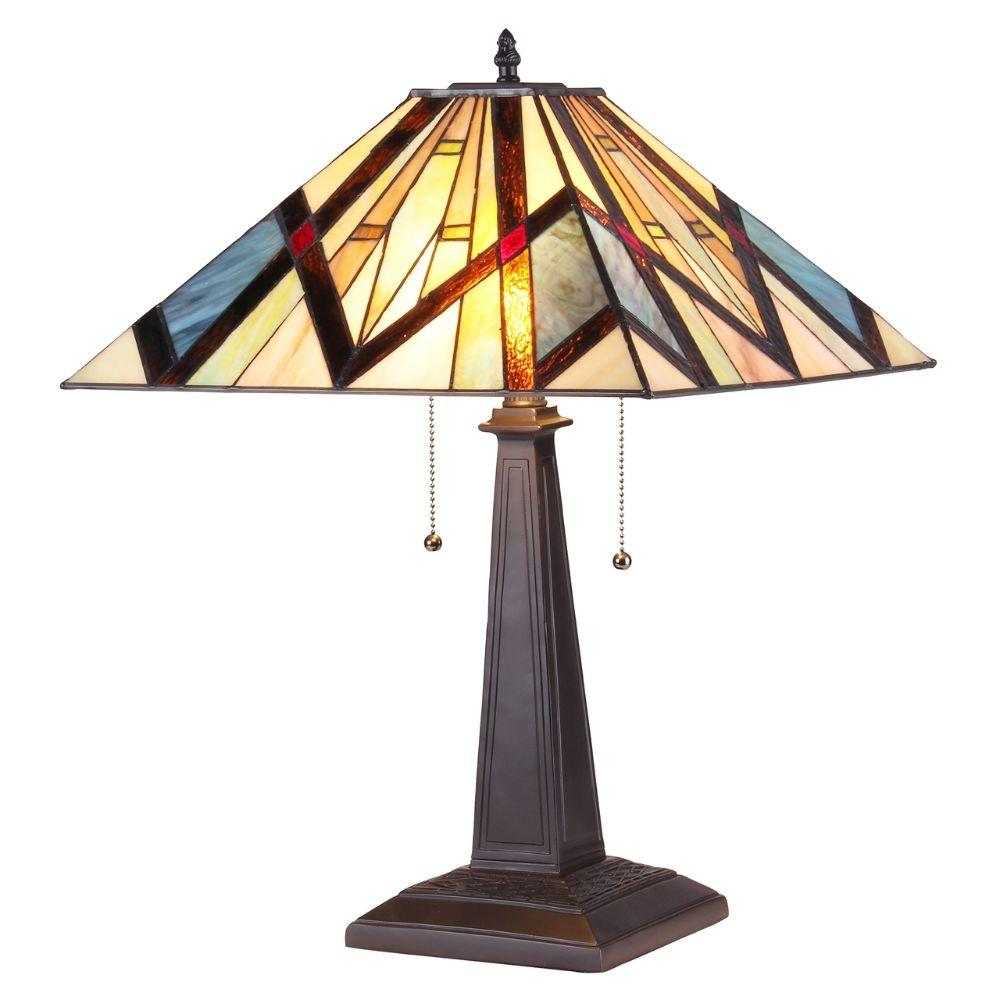 "CHLOE Lighting BEDIVERE Tiffany-style 2 Light Mission Table Lamp 16"" Shade"