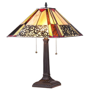 "CHLOE Lighting EVELYN Tiffany-style 2 Light Mission Table Lamp 16"" Shade"