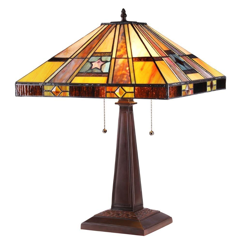 "CHLOE Lighting ELY Tiffany-style 2 Light Mission Table Lamp 16"" Shade"